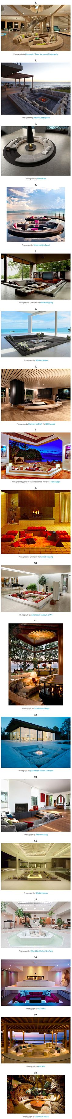 A conversation pit is an architectural features that incorporates built-in seating into a depressed section of flooring within a larger room. It is sometimes referred to as a 'sunken living room' and was a popular design style from the 1950s to 1970s across Europe and North America. Here are 18 awesome designs.