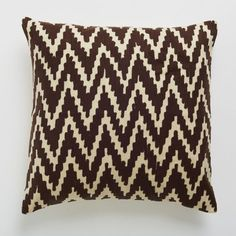 chevron crewel pillow cover in sable brown | west elm