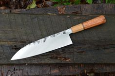 235mm Deep Gyuto with Black cherry burl, copper and American chestnut octagonal handle