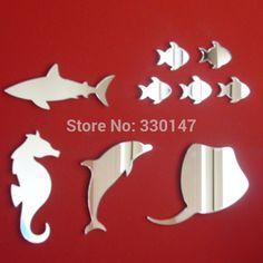 Nove peixe Sea Life espelhos seahorse, Tubarão, Stingray & Dolphin acrílico adesivos de parede DIY auto adesão decoração para o quarto do miúdo