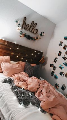 Cute teen bedroom hello lights pink photos on wall Teen Room Decor Ideas Bedroom cute Lights photos pink Teen wall Cute Room Decor, Teen Room Decor, Room Decor Bedroom, Bedroom Inspo, Master Bedroom, Bedroom Themes, Bedroom Decor For Teen Girls, Young Adult Bedroom, Bedroom Colors