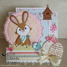 Made by Designer of the month Rimmie, Collectable Bunny COL1354, Collectable Easter eggs COL1382, Craftable Circle & Stitch CR1248, Creatable Grass LR0206
