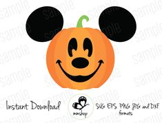 Mickey Pumpkin - Cuttable Design Files (Svg, Eps, Dxf, Png, Jpg) For Silhouette and Cricut Mickey Mouse Halloween, Halloween 2020, Spooky Halloween, Halloween Crafts, Halloween Decorations, Halloween Backdrop, Disneyland Halloween, Disney Diy, Disney Crafts