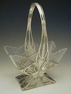 Art Nouveau Glass & Pewter Flower Basket, WMF Manufacturer, Germany, c. 1906