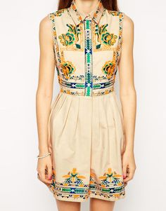 Image 3 ofASOS Skater Dress with Embroidery