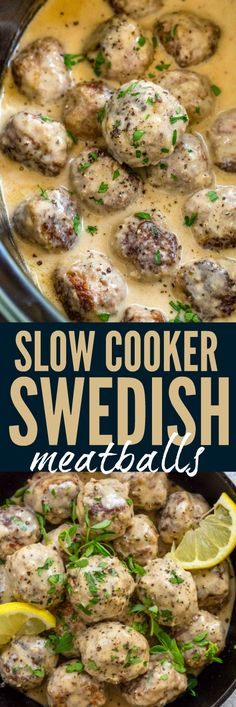Slow Cooker Swedish Meatballs braised in a rich and flavorful cream sauce. Slow Cooker Swedish Meatballs braised in a rich and flavorful cream sauce. A combination of ground Ground Beef Recipes Easy, Beef Recipes For Dinner, Pork Recipes, Cooker Recipes, Healthy Recipes, Chicken Recipes, Healthy Food, Swedish Meatball Recipes, Swedish Recipes
