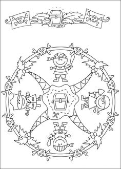 Mandalas bring relaxation and comfort to adults all over the world. Mandalas are one of our favorite things to color. Kids can color them too! We have some more simple mandalas for kids to color. Mandalas for Kids Mandalas Drawing, Mandala Coloring Pages, Coloring Book Pages, Printable Coloring Pages, Coloring Sheets, Pirate Day, Pirate Theme, Mandalas For Kids