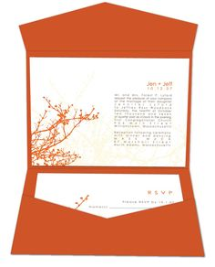 MEN'S VOWS: We like the idea of a bold orange envelope sleeve for your orange-themed invitations.