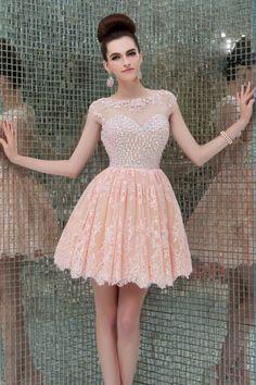 Encontrar Más Vestidos de Gala Información acerca de 2015 recién llegado de colores Beads Prom del partido rosado corto Backless una línea de manga casquillo de la graduación vestidos por encargo dl23 1, alta calidad vestido de mi niña de 5, China vestir muñecas Proveedores, barato vestido de bonos de Suzhou Pacific Wedding Dress Co., Ltd. en Aliexpress.com