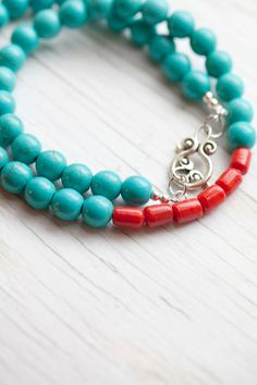 Turquoise Necklace . Red coral bead . Toggle by WhiteLilyDesign