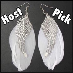Angel Wing Earrings✨reduced final price✨ Pretty silver toned zinc alloy earrings with white feathers. Size and shape of feathers may vary slightly due to them being real feathers. New in clear plastic package. Jewelry Earrings