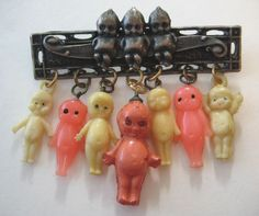 VINTAGE+Glass+Metal+Celluloid+KEWPIE+DOLL+Charm+Pin+Brooch+