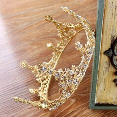 Vintage Wedding Bridal Crystal Gold Crown Tiaras Hair Accessory Pageant Headband | eBay