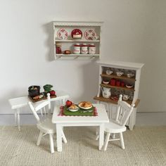 Hutch with Red Accents for 1:12 Scale by Trishiesminicorner