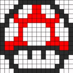 Mario Mushroom Extra Life Perler Bead Pattern | Bead Sprites | Characters Fuse Bead Patterns