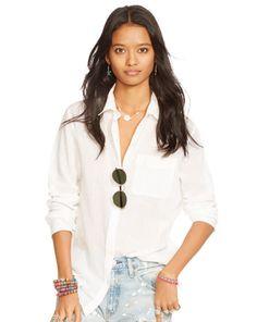Cotton Gauze Boyfriend Shirt - Denim & Supply  Long-Sleeve - RalphLauren.com