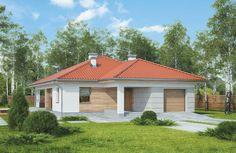 """""""Perłowy świt"""" Murator M203 - wygodny, niedrogi w realizacji dom parterowy dla 4-5-osobowej rodziny. Jego elewacja pokryta deskami i klinkierem sprawia, że dom idealnie wpisze się w naturalny krajobraz"""
