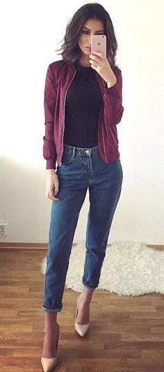 #winter #fashion / Purple Jacket + Black Knit + Cropped Jeans