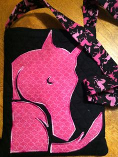 Pink and Black Horse Motif CrossBody Purse by ThatsSewPony on Etsy, $25.00