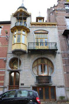 "lostsplendor: "" Art Nouveau Home Design: Tournai, Belgium via Wikimedia Commons "" Facade Architecture, Landscape Architecture, Art Nouveau Illustration, Art Deco, New York City Photos, Organic Art, Castle House, Street Art, Scale"