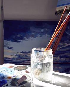 "72 tykkäystä, 11 kommenttia - Jenni Tuulia (@jennituuliaart) Instagramissa: ""This morning I woke up, walked to the kitchen, in our apartment that's currently full of paintings…"" My Art Studio, Jenni, Wake Me Up, Canvases, Paintings, Kitchen, Instagram, Cooking, Paint"