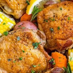 Slow cooker chicken thighs served with hearty vegetables is a complete meal made easy! Tender pieces of chicken, potatoes, carrots, and co. Slow Cooker Chicken Thighs, Chicken Cooker, Spinach Stuffed Mushrooms, Spinach Stuffed Chicken, Marry Me Chicken Recipe, Oven Dishes, Chicken And Vegetables, Root Vegetables, Easy Food To Make