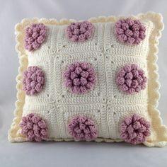 Puffy Flower Pillow Pink/Cream, Crochet Cushion, Flower Pillow,Throw Pillow, Pink Pillow, Cream Pillow, Home Decor