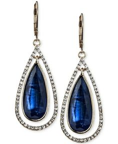 Anne Klein Gold-Tone Blue Stone and Crystal Pave Teardrop Earrings from Macy's on Catalog Spree, my personal digital mall.