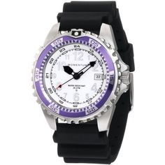 Momentum M1 Twist Purple Bezel Black Hyper Natural Rubber Watch ($155) ❤ liked on Polyvore featuring jewelry, watches, purple jewellery, momentum watches, bezel jewelry, water resistant watches and twist jewelry