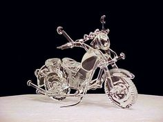 Custom hardly dangerous hand blown glass classic motorcycle wedding cake top. All solid glass no gold. Swarovski Crystal Figurines, Swarovski Crystals, Motorcycle Wedding, Motorcycle Cake, Glass Baron, Antique Perfume Bottles, Glass Figurines, Wedding Cake Toppers, Glass Ornaments