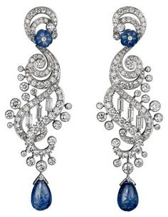 Sapphire and diamond earrings by Cartier