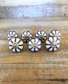 Drawer Knobs 7 Ceramic Drawer Pulls Mid Century Hardware Dresser Drawer Pulls Cabinet Door Knobs Blue and White Knobs Unique Drawer Knobs by TheDustyOldShack on Etsy
