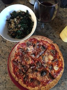 Thin crust pizza with a Kale stir fry!!!