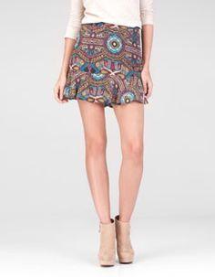 Flowing print skirt
