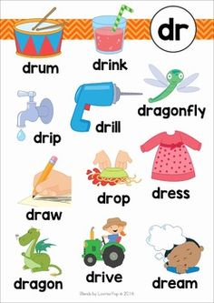 DR Blends Worksheets and Activities. Anchor chart / word wall / postere e Phonics Reading, Reading Comprehension Worksheets, Teaching Phonics, Kindergarten Reading, Teaching Kids, Teaching Reading, Phonics Flashcards, Phonics Words, Phonics Worksheets
