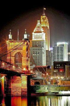 Cincinnati, Ohio, at night..