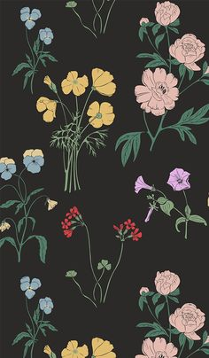 46 ideas for black wall paper background floral prints Flower Background Wallpaper, Flower Phone Wallpaper, Wallpaper Iphone Cute, Flower Backgrounds, Aesthetic Iphone Wallpaper, Of Wallpaper, Galaxy Wallpaper, Cartoon Wallpaper, Mobile Wallpaper
