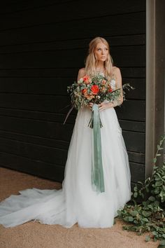 Free-Spirited 70's Bridal Style with Orange and Green Flowers
