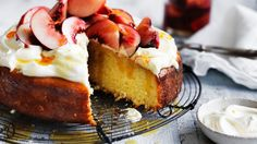 Neil Perry's Coconut and Yoghurt Cake with Fresh Peach Compote.& Whipped Cream - Here's a preview of summer you can gobble up; peaches 'n' cream in cake form! The yoghurt adds a gorgeous edge to this delectable sweet treat.