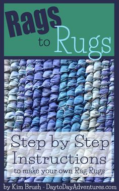 39 page ebook with step by step instructions to help you make your own beautiful, handmade rag rugs. *Color photos to show each step of the process. *Directions for calculating how big to make your center/base in order to achieve the size rug you desire. *Written instructions for creating stitches, increasing size, decreasing size, and finishing an oval rag rug. *Also includes step-by-step instructions on choosing fabric, ripping strips, getting started and finding time to make your rugs...