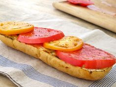 Heirloom Tomatoes on Grilled Garlic Bread