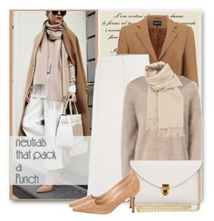 """""""Winter Neutrals"""" by brendariley-1 ❤ liked on Polyvore featuring RED Valentino, J.Lindeberg, Hermès, Manolo Blahnik and neutral"""