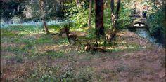 Pompeo Mariani (1857-1927), Parco di Monza, rumore nel bosco.