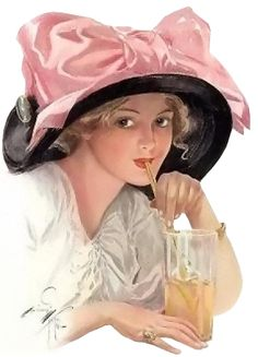 Harrison Fisher Edwardian woman Gibson girl enjoying a lemonade in a big black hat and pink bow Images Vintage, Vintage Diy, Vintage Pictures, Vintage Postcards, Victorian Pictures, Vintage Woman, Vintage Ephemera, La Fille Gibson, Silhouettes
