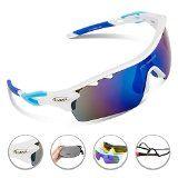 Kyпить RIVBOS Rb0801 POLARIZED Sports Wayfarer Sunglasses with 5 Set Interchangeable Lens (White&Blue) на Amazon.com