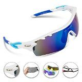 Kyпить RIVBOS Rb0801 POLARIZED Sports Wayfarer Sunglasses with 5 Set Interchangeable Lens (White&Blue) на Amazon.com