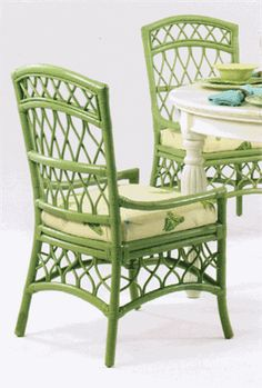 Cottage Walk Rattan Chair-I love this because it looks so vintage and classic and reminds me of my childhood! Cane Furniture, Cottage Furniture, Bamboo Furniture, Furniture Decor, Painted Furniture, Outdoor Furniture, Sunroom Furniture, Painted Bamboo, Painted Wicker