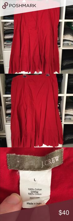 J. Crew Red Skirt 100% cotton red peasant skirt. In excellent condition! Super comfortable and breathable for traveling, work, or everyday! Open to reasonable offers through feature! J. Crew Skirts