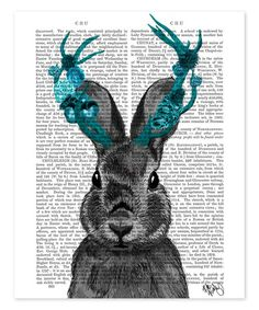 Jackalope & Turquoise Antlers Dictionary Print #zulily #zulilyfinds