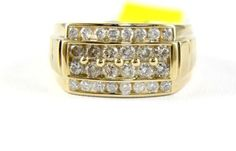 Fine-Wide-Round-Cut-4-Row-Diamond-Cluster-Men-039-s-Ring-Band-14k-Yellow-Gold-1-60Ct